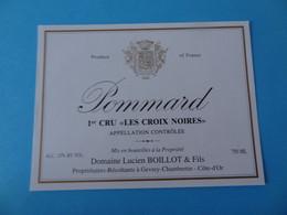 Etiquette Neuve Pommard 1er Cru Les Croix Noires Domaine Lucien Boillot & Fils - Bourgogne