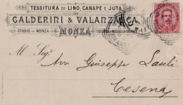 Regno - Pubblicitaria - Calderini & Valanzasca - Tessitura - Monza - Affrancata Cent 10 - Otros