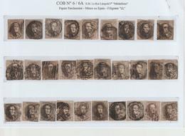 Petit Lot De 30 Médaillons COB N°6 & 6A - Nuances/Variétés/Oblitérations - 1851-1857 Medallions (6/8)