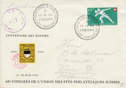 Lettre Du 60ème Congrès De L'Union Des Sctés Philatéliques Suisses - Fribourg 17.VI.50 - Covers & Documents