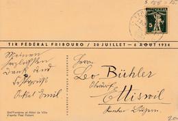 Tir Fédéral Fribourg / 20 Juillet - 6 Août 1934 / Cachet S.158 Sur Carte Officielle - Covers & Documents