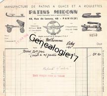 75 23984 PARIS SEINE 1940 Patins A Glace MIDONN Patin A Roulettes Rue De Lancry Dest DELHOMME ( Patinage ) - Pattinaggio Artistico