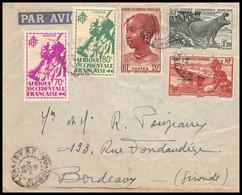10041 Conakry Guinée Bel Affranchissement Composé Hippopotame 1946 Bordeaux Lettre Cover Afrique Occidentale AOF Avion - Cartas