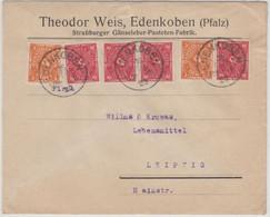 DR-Infla - 4x10+2x5 M. Posthorn, Firmenbrief Edenkoben - Leipzig 1923 - Briefe U. Dokumente