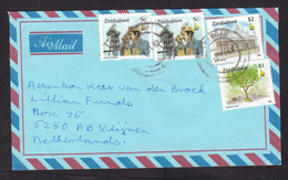 Zimbabwe: Airmail Cover To Netherlands, 1997, 4 Stamps, Mining, Mine Worker, Tree, Cecil House (traces Of Use) - Zimbabwe (1980-...)