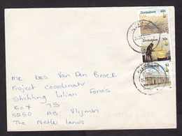 Zimbabwe: Cover To Netherlands, 3 Stamps, Mining, Mine Excavator, Gold Industry, Cecil House, Heritage (traces Of Use) - Zimbabwe (1980-...)