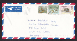 Zimbabwe: Airmail Cover To Netherlands, 3 Stamps, Mining, Mine Worker Drill, Axe, Prehistory, Truck, Car (minor Crease) - Zimbabwe (1980-...)