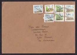 Zimbabwe: Cover To Netherlands, 1998, 7 Stamps, Mining, Excavator Crane, Paper & Cecil House, Toposcope (traces Of Use) - Zimbabwe (1980-...)