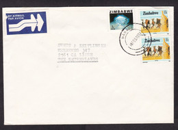 Zimbabwe: Airmail Cover To Netherlands, 1987, 3 Stamps, Blue Topaz Mineral, Ore, Jewel, Cattle, Cow (minor Crease) - Zimbabwe (1980-...)