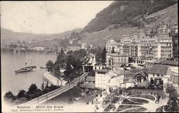CPA Territet Montreux Kt Waadt, Hotel Des Alpes, Salondampfer - VD Vaud
