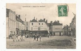 Cp , 28 , EURE ET LOIR , JANVILLE , Place Du MARTROI , Voyagée 1908 , Au Bon Marché , Tabac , Tonnelier - Autres Communes