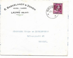 "SH 0985. N° 724N Càd WEVELGEM 26.8.46 S/Lettre De LAUWE (E. Beakelandt - Weverij - Vlasserij"" Vers Bruxelles; TB - 1946 -10%"