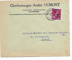 """SH 0986. N° 724N WATERSCHEI 2.VII.1946 S/Lettre """"Charbonnages André Dumont - Waterschei"""" Vers Bruxelles. TB - 1946 -10%"""