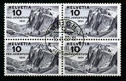 """HELVETIA - SBK Nr J58 (Mi Nr 247) - VIERERBLOCK Gest./obl. """"ZURICH 3"""" - Cote SBK 50,00 CHF (ref.3602) - Used Stamps"""