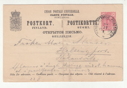 Finland Russia Postal Stationery Postcard Posted 1889 Hangö–Hyvinge Railway Pmk B210725 - Covers & Documents