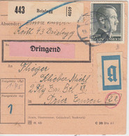DR - 1 RM AH U.a. Dringend-Paketkarte/Beutelstück Brixlegg - Trier 1944 - Storia Postale
