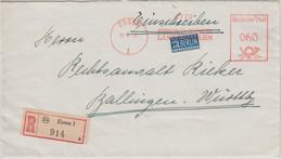 BRD - Essen 1951 60 Pfg. AFS Steinkohlen Bergwerk Langenbrahm Einschreibebrief - Machine Stamps (ATM)