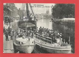 C.P.S.M. ( 29 ) « QUIMPER » En Bretagne Les Années 1900 à 1910-Départ Des Bateaux Pour Bénodet- Vue Animée(Repro)X2 Phts - Quimper