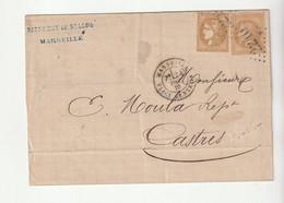 Lettre Classiques De France: Affranchissement Mixte Cérès Bordeaux N°43A Et Napoléon N°28, Raffinerie St Louis/Marseille - 1870 Bordeaux Printing