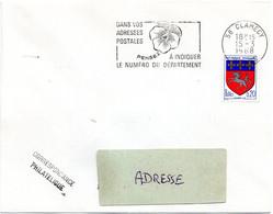 NIEVRE - Dépt N° 58 =  CLAMECY 1968 = FLAMME SUPERBE = SECAP Multiple ' PENSEZ à INDIQUER ' = Pensée N° 2 - Code Postal