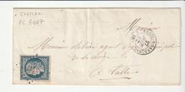 Lettre Avec Classiques De France:Cérès N°4, P.C. 3447, Ussel Sur Sarsonne/Corrèze, 1852 - 1849-1850 Ceres