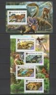 ST183 2015 GUINEA DINOSAURS FAUNA PREHISTORIC ANIMALS 1KB+1BL MNH - Prehistorisch