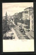 AK Montreux, Grande Rue Et Hotel Du Cygne, Strassenbahn - Tramways
