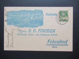 Schweiz 1925 Dekorative Firmenkarte Firma G.H. Fischer Fehraltorf Zündhölzer Aller Art / Kunstfeuerwerk / Asbest Feuer - Covers & Documents
