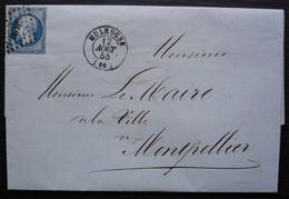 Mulhouse 1855 Victor Paraf Calicots Et Cretonnes , Lettre Pour Le Maire De Montpellier - 1849-1876: Periodo Clásico