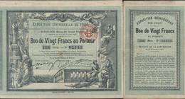 Exposition Universelle 1900 Paris Bon 20F Au Porteur + Bon Pr 20 Billets D'entrée Participation Loterie Crédit Foncier - Unclassified