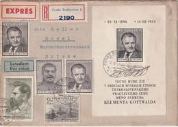 TCHECOSLOVAQUIE 1953 LETTRE RECOMMANDEE DE BUDEJOVICE AVEC CACHET ARRIVEE BALE - Covers & Documents