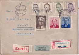 TCHECOSLOVAQUIE 1953 PLI AERIEN RECOMMANDE EXPRES DE BUDEJOVICE AVEC CACHET ARRIVEE BALE - Covers & Documents