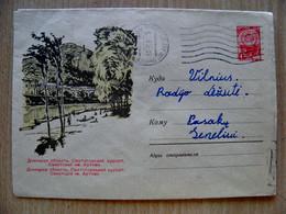 Postal Stationery Cover Ussr Sent From Lithuania Kaunas Donetsk Region Sanatorium Ukraine - 1960-69