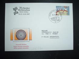 LETTRE TP LAIT CREME 90 OBL.24 9 87 AUTOMOBIL POSTBURO 6 + 38 ZURCHER HERBSTSCHAU ZURICH - Postmark Collection
