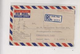 MALAYA NEGRI SEMILAN 1960 KUALA PILACH Registered Airmail Cover - Negri Sembilan