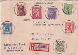 ALLEMAGNE 1946 ZONE SOVIETIQUE  LETTRE RECOMMANDEE DE COTTBUS  AVEC CACHET  ARRIVEE OPLADEN - Zona Sovietica