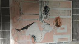 Affiche Dessin - Devant Sa Coiffeuse, Son Petit Chat Noir....(dessin De FABIANO) - Affiches