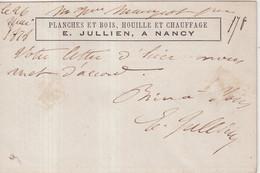 """FRANCE : CP PRECURSEUR . REPIQUAGE . """" JULLIEN A NANCY """" . 1878 . - 1801-1848: Precursori XIX"""