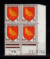 Coin Daté - YV 1004 N** Luxe , Coin Daté Du 23.9.54 , 3 Points - 1950-1959
