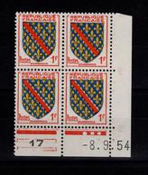 Coin Daté - YV 1002 N** Luxe , Coin Daté Du 8.9.54 , 3 Points - 1950-1959