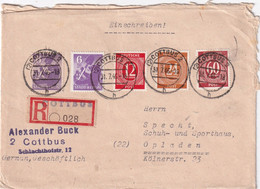 ALLEMAGNE 1946 ZONE AAS LETTRE RECOMMANDEE DE COTTBUS AVEC CACHET ARRIVEE OPLADEN - Zona AAS