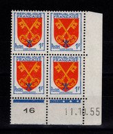 Coin Daté - YV 1047 N** Luxe , Coin Daté Du 11.10.55 , 3 Points - 1950-1959