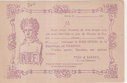 """FRANCE : CP PRECURSEUR . REPIQUAGE . """" FRANCIA YVES ET BARRET . EN VIOLET """" . 1877 . - 1801-1848: Precursori XIX"""