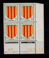 Coin Daté - YV 1044 N** Luxe , Coin Daté Du 26.10.55 , 3 Points - 1950-1959