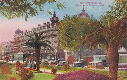 MONTPELLIER - HERAULT - (34) - PEU COURANTE CPA COULEUR - BEL AFFRANCHISSEMENT POSTAL DE 1936.... - Montpellier