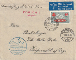 Suisse Lettre Aviation 1937 - Postmark Collection