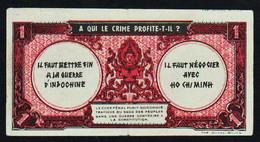 INDOCHINE Fse (1942/45) 1 Piastre. RARE Billet De Propagande Pour La Paix. Etat: 1 Pli Central TTB - Indochine