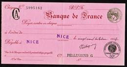 Chèque De La Banque De France Signé En Blanc De Nice Le 29/10/1937. Compte De M.  Pellegrino. - Cheques & Traveler's Cheques