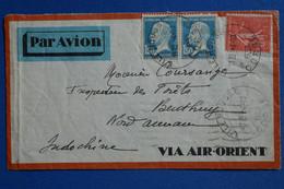 X15  FRANCE  BELLE LETTRE  RARE   1932 PAR AVION  L ILE ROUSSE  POUR  BEN THUY INDOCHINE+ PAIRE DE T.P+ AFF. INTERESSANT - Lettres & Documents