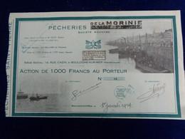 FRANCE - 62 -BOULOGNE SUR MER 1934 -  PECHERIES DE LA MORINIE - ACTION DE 1 000 FRS - PEU COURANT - Unclassified